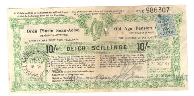Old age pension 31st october 1947 Grand Parade Cork