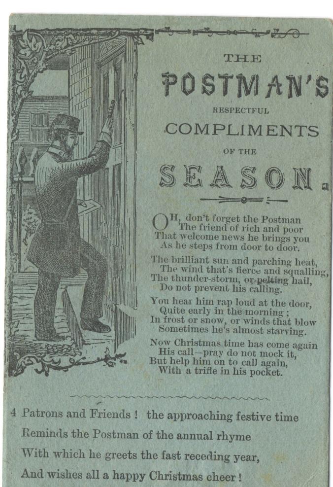Postman's Compliments Christmas card